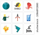 set of 9 simple editable icons... | Shutterstock .eps vector #1086892880