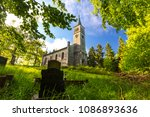 old church and cemetery in the... | Shutterstock . vector #1086893636