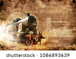 old steam train  vintage grunge ... | Shutterstock . vector #1086893639