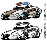 sheriff muscle car cartoon... | Shutterstock .eps vector #1086899813