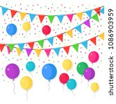 banner with garland of colour... | Shutterstock .eps vector #1086903959