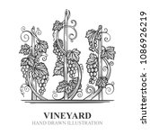 vineyard hand drawn sketch.... | Shutterstock .eps vector #1086926219