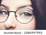 beautiful insightful look brown ... | Shutterstock . vector #1086947993