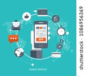 mobile services concept. hand...   Shutterstock .eps vector #1086956369