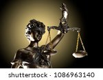 lady justice on golden... | Shutterstock . vector #1086963140