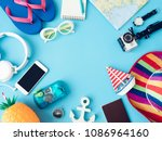 top view travel concept with... | Shutterstock . vector #1086964160