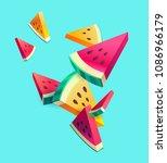 fresh sliced watermelon fruit... | Shutterstock .eps vector #1086966179