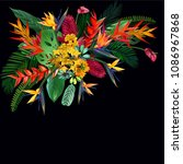 tropical flowers summer...   Shutterstock .eps vector #1086967868