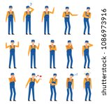 set of workers  couriers or...   Shutterstock .eps vector #1086973916