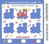 shadow matching game. find the... | Shutterstock .eps vector #1086985898