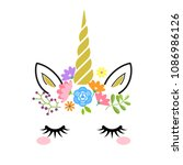 cute unicorn face with gold... | Shutterstock .eps vector #1086986126