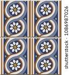 ceramic tile pattern round... | Shutterstock .eps vector #1086987026
