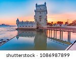 belem tower or tower of st... | Shutterstock . vector #1086987899