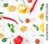 ingredients for cooking pasta... | Shutterstock . vector #1087011266
