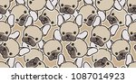 dog seamless pattern french... | Shutterstock .eps vector #1087014923