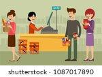 cash desk in a supermarket and... | Shutterstock .eps vector #1087017890