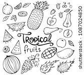 set of summer doodles fruits... | Shutterstock .eps vector #1087024850