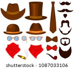colorful cartoon hipster 21...   Shutterstock . vector #1087033106