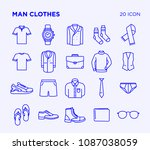 Stock vector simple set of man clothes vector line icons editable stroke pixel perfect 1087038059