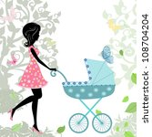woman with a stroller | Shutterstock .eps vector #108704204