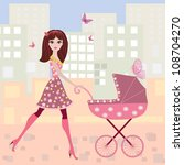 woman with a stroller | Shutterstock .eps vector #108704270