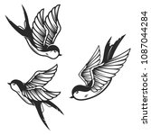 set of swallow birds on white... | Shutterstock .eps vector #1087044284