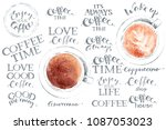 hand drawn cups of cappuccino... | Shutterstock .eps vector #1087053023
