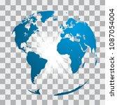blue world map globe with white ... | Shutterstock .eps vector #1087054004