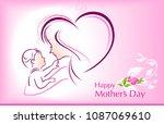 mother holding her child | Shutterstock .eps vector #1087069610