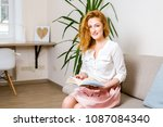 beautiful young female student... | Shutterstock . vector #1087084340