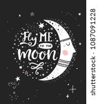 fly me to the moon  poster with ... | Shutterstock .eps vector #1087091228