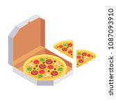 whole and slices pizza in open... | Shutterstock .eps vector #1087093910