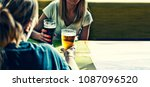 beer. friends having a round of ... | Shutterstock . vector #1087096520