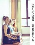 group of yoga girls gym  ... | Shutterstock . vector #1087097468