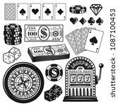 Poker and casino set of gambling objects, design elements vector illustration in vintage monochrome style isolated on white background - stock vector