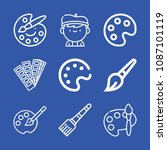 artist related set of 9 icons... | Shutterstock .eps vector #1087101119