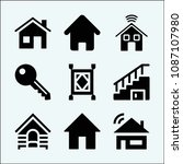 house related set of 9 icons... | Shutterstock .eps vector #1087107980