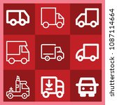 lorry related set of 9 icons...   Shutterstock .eps vector #1087114664
