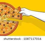 person hand picking pizza slice | Shutterstock .eps vector #1087117016