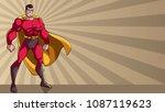 smiling superhero standing tall ...   Shutterstock .eps vector #1087119623
