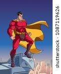 superhero watching over the...   Shutterstock .eps vector #1087119626