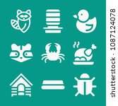 animals related set of 9 icons... | Shutterstock .eps vector #1087124078