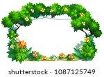 vector frame of plants  flowers ... | Shutterstock .eps vector #1087125749