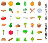 Foliage Icons Set. Cartoon...