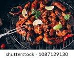 chicken wings of barbecue in... | Shutterstock . vector #1087129130