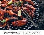 chicken wings of barbecue in... | Shutterstock . vector #1087129148