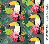 tropical jungle seamless... | Shutterstock .eps vector #1087134668