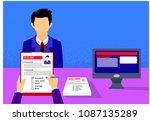 employer interviewing  check...   Shutterstock .eps vector #1087135289