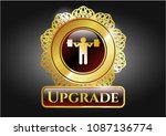 gold emblem with squat icon...   Shutterstock .eps vector #1087136774