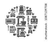 kitchen small appliances...   Shutterstock .eps vector #1087139708